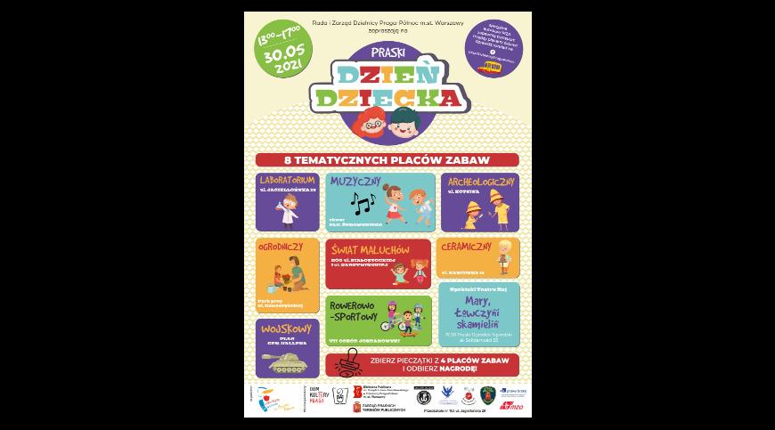 Plakat informujący o miejscach placów zabaw z okazji Dnia Dziecka 2021.