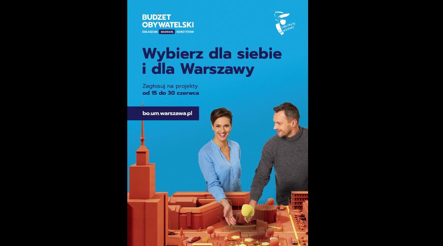 Plakat z informacją na temat głosowania na projekty z budżetu obywatelskiego