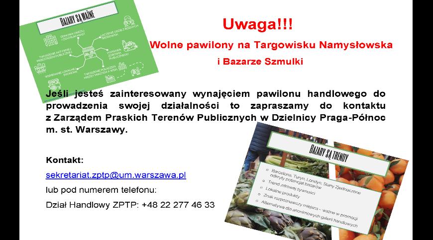 Plakat z informacją na temat wolnych lokali handlowych do wynajęcia na Targowisku Namysłowska i Bazarze Szmulki z grafiką przykładową i danymi kontaktowymi.