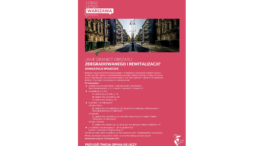 Konsultacje w sprawie programu rewitalizacji w Warszawie.